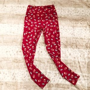 LuLaRoe red floral butter soft leggings one size